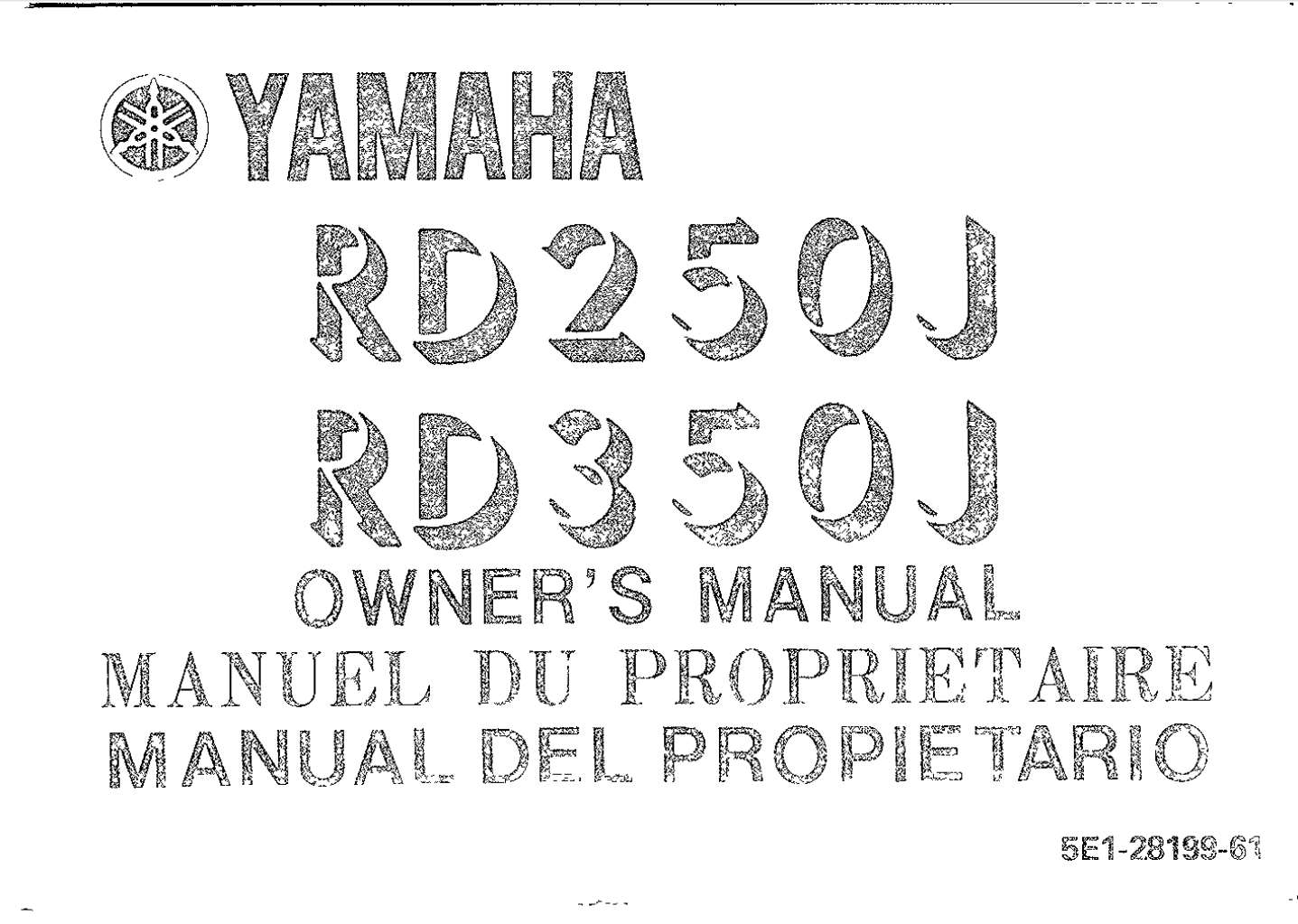 Yamaha Rd250j 350j Owner S Manual
