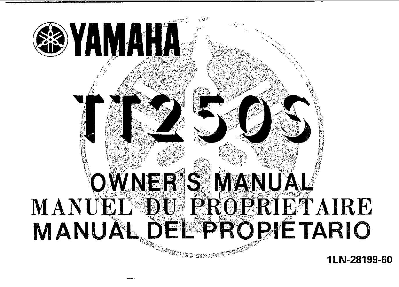 Yamaha TT250 X 1986 Owner's Manual