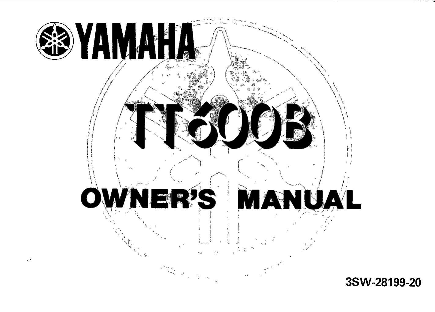 Yamaha TT600 B 1991 Owner's Manual