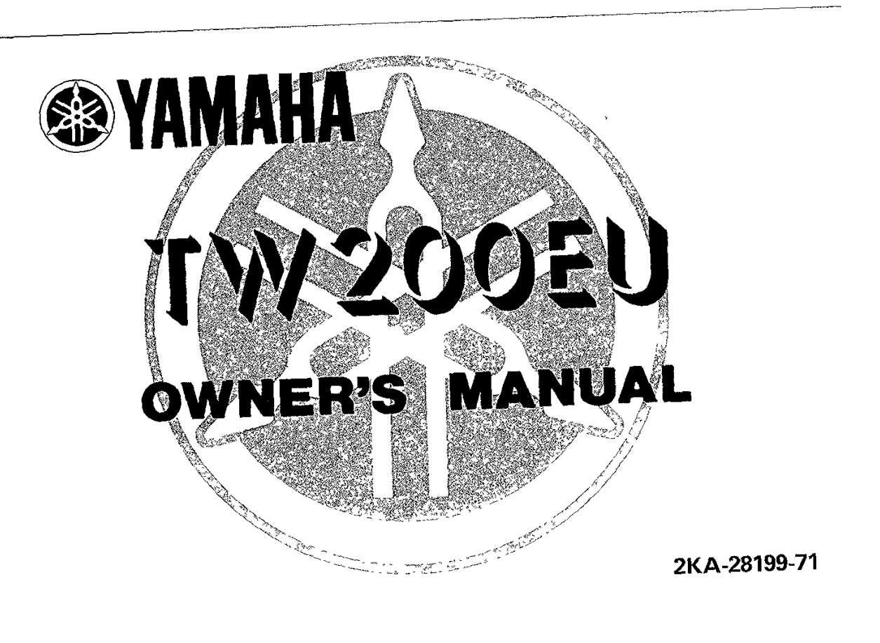 Yamaha TW200 EU 1988 Owner's Manual