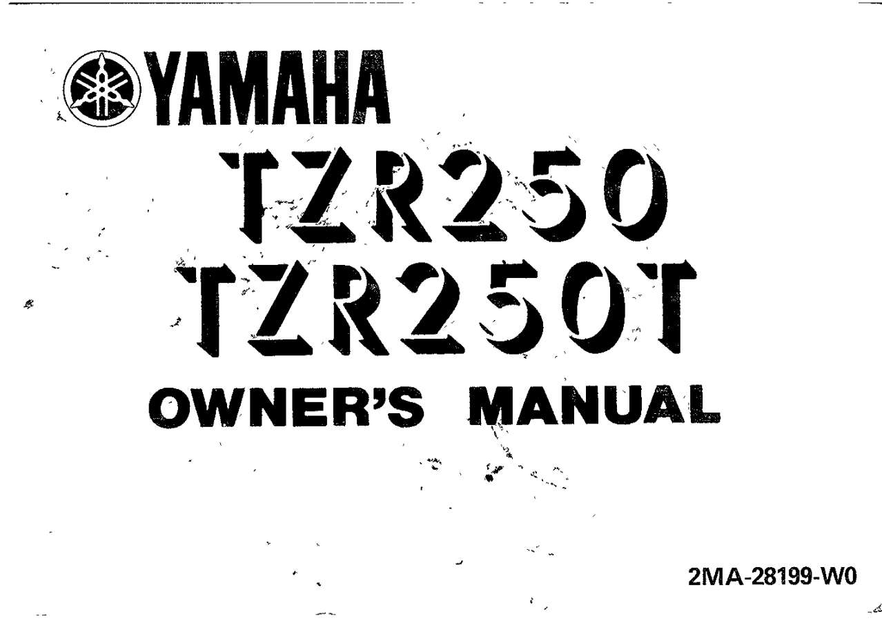 Yamaha TZR250 T 1987 Owner's Manual