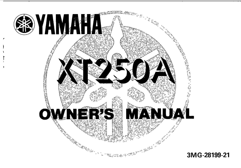 Yamaha XT250 A 1990 Owner's Manual