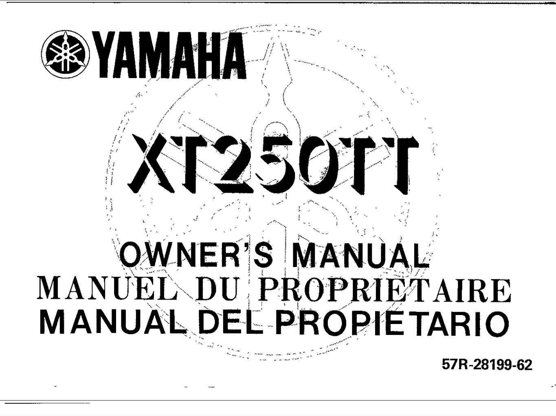 Yamaha XT250TT 1987 Owner's Manual
