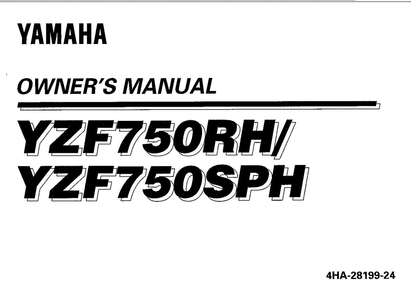 Yamaha YZF750RH YZF750SPH 1996 Owner's Manual