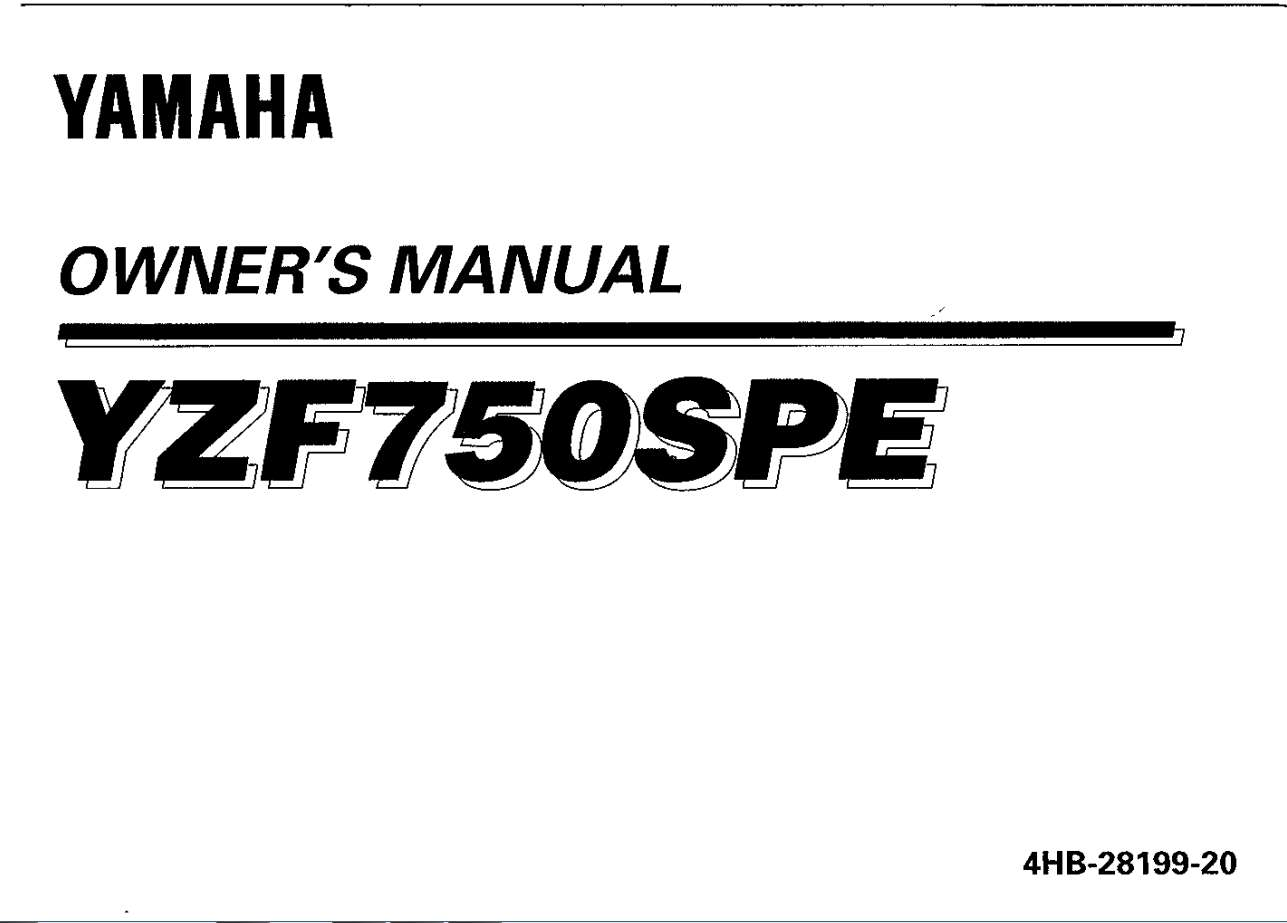 Yamaha YZF750SPE 1993 Owner's Manual