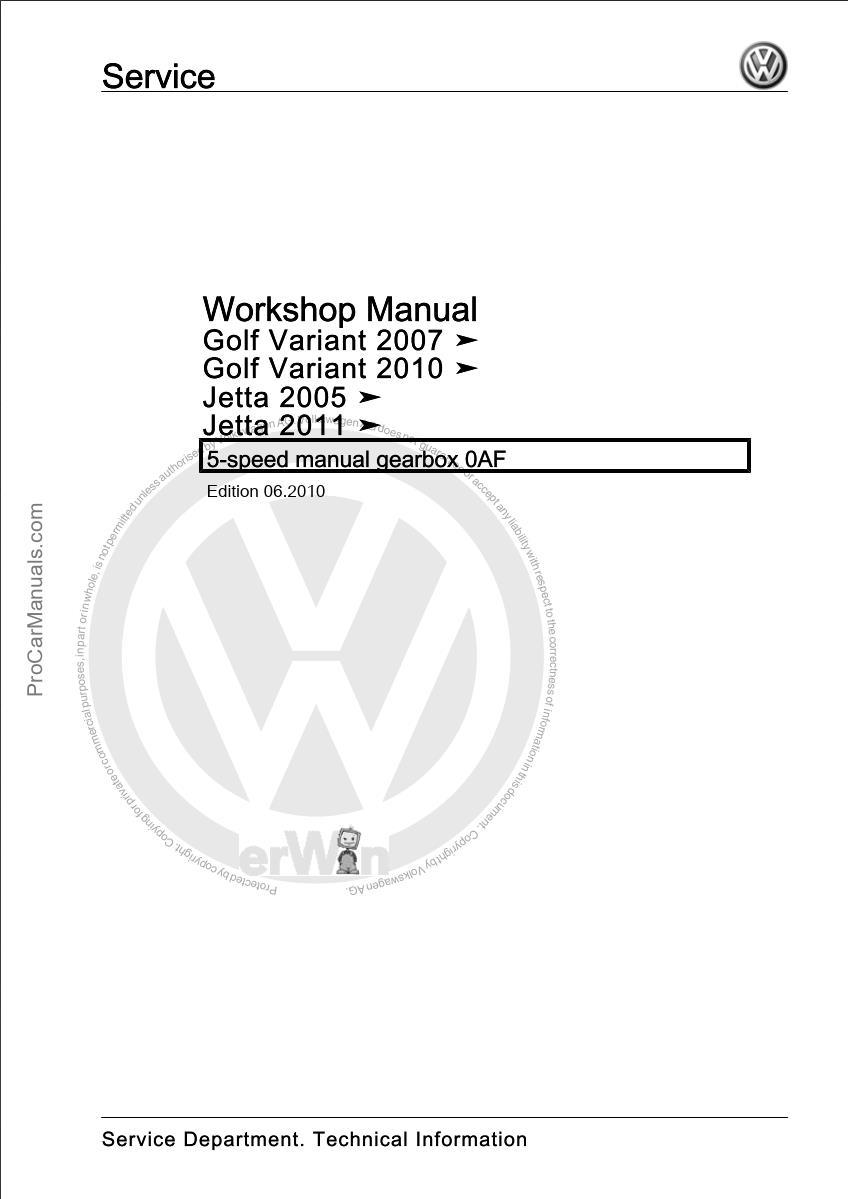 Volkswagen 5-speed Manual Gearbox 0AF Workshop Manual