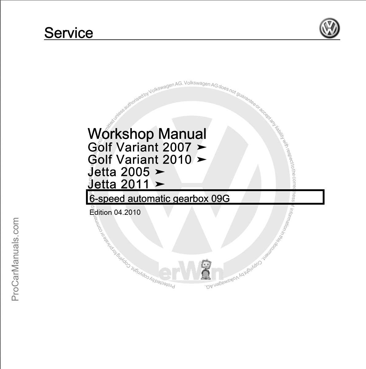 Volkswagen 6-speed Automatic Gearbox 09G Workshop Manual