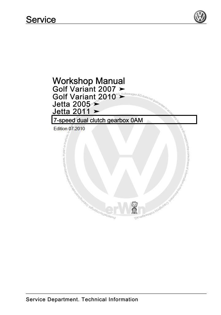 Volkswagen 7-speed Dual Clutch Gearbox 0AM Workshop Manual