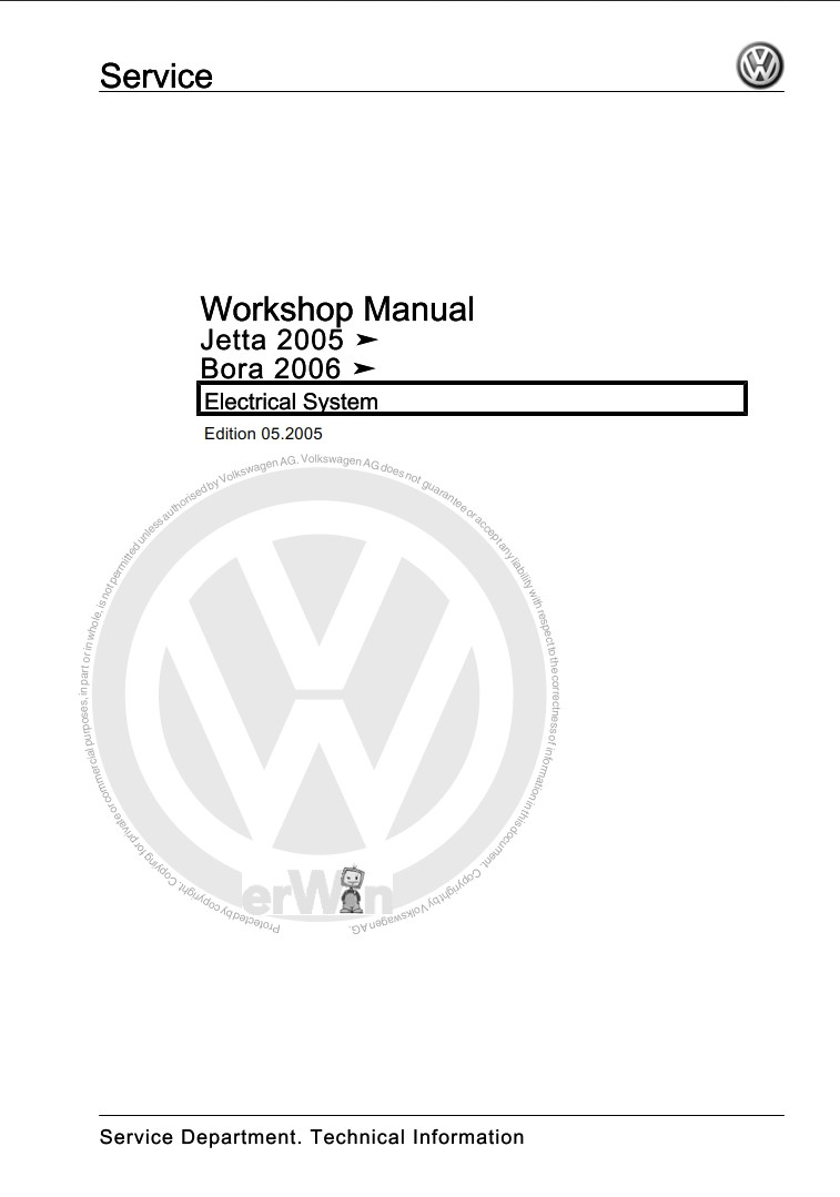 Volkswagen Bora 2006 Service Manual Electrical Systems
