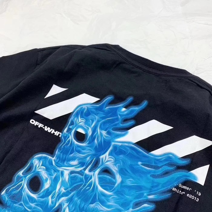 off white blue fire