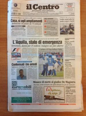 Il Centro, ed. L'Aquila, 02-04-2009, 1