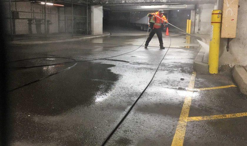 Underground parking lot cleaning