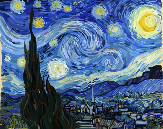 An artist's rendition of Starry Night by Van Gogh. Blue swirling sky with yellow swirly stars over a landscape of a town
