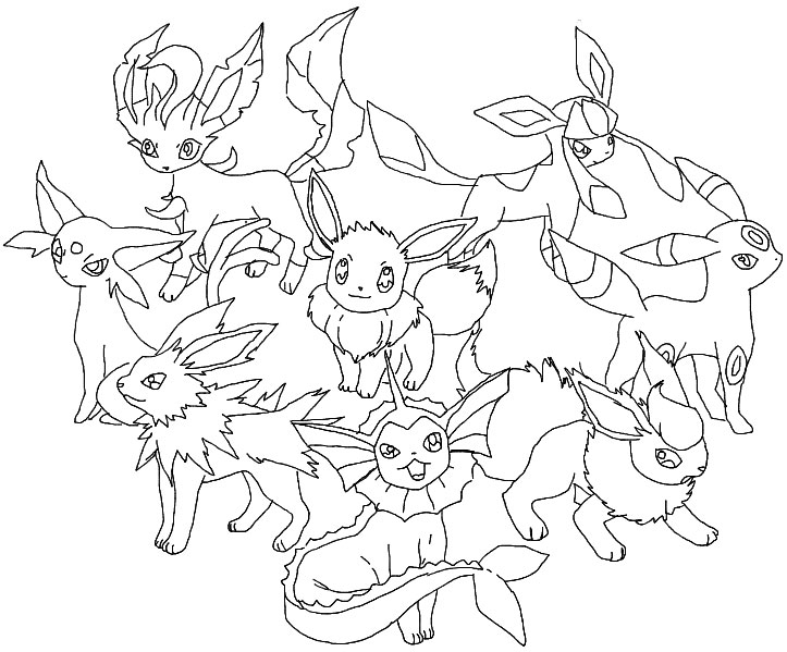 Pokemon Coloring Pages Eevee Evolutions Glaceon Sketch