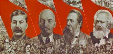 la ideología comunista soviética: Karl Marx, Friedrich Engels, Vladímir Lennin , y Josef Stalin
