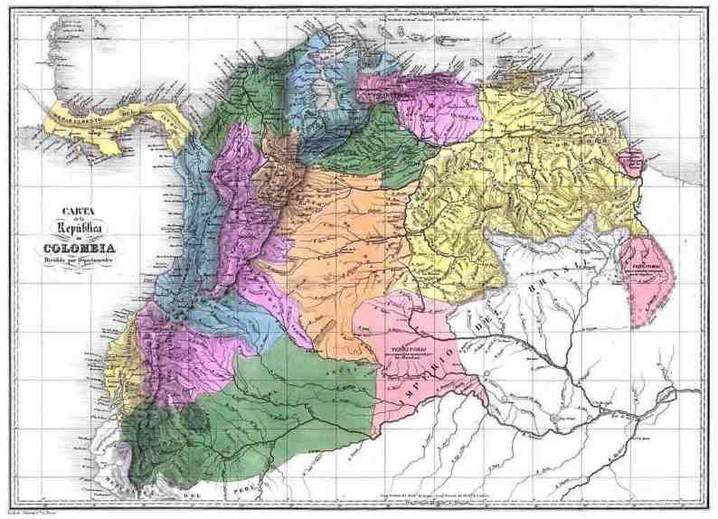 Mapa de Republica de Colombia o Gran Colombia