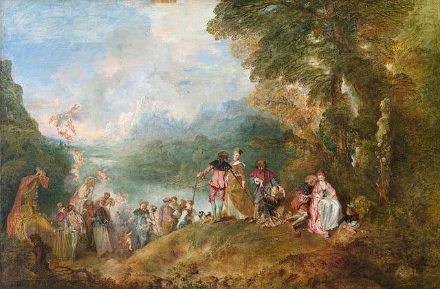 Antoine Watteau, Pilgrimage Cythera, Ejemplo de arte barroco.