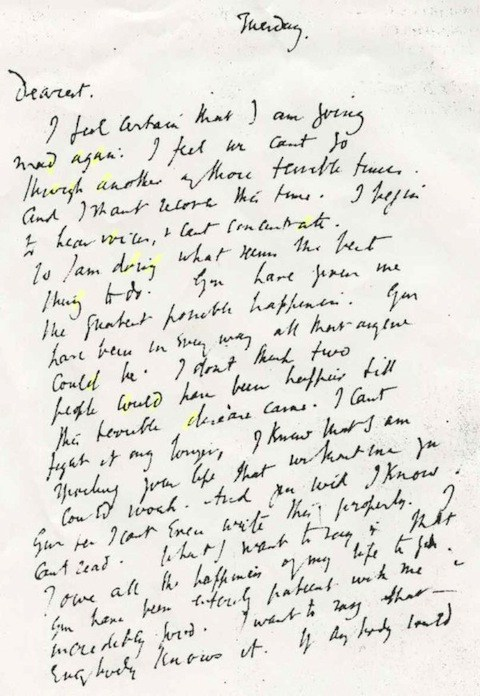 carta suicidio Virginia Woolf