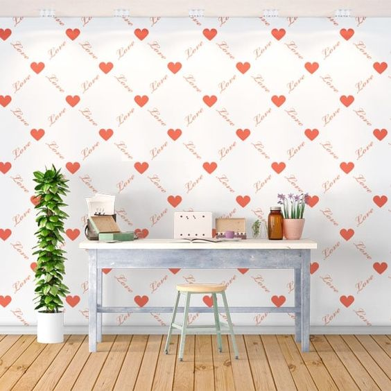 pared de corazones 70