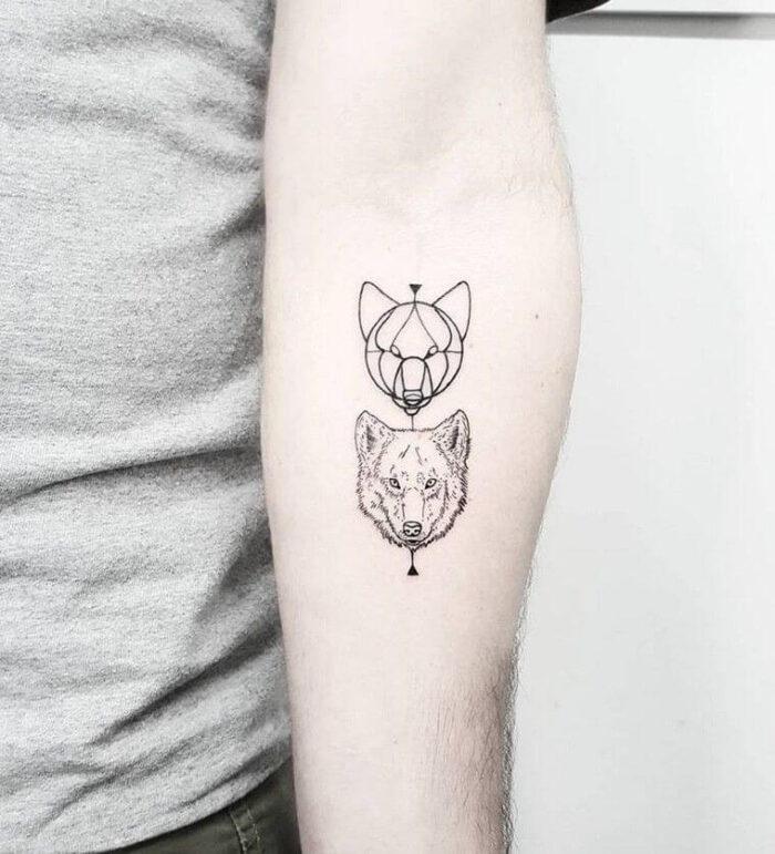 Tatuajes minimalistas de lobos 10