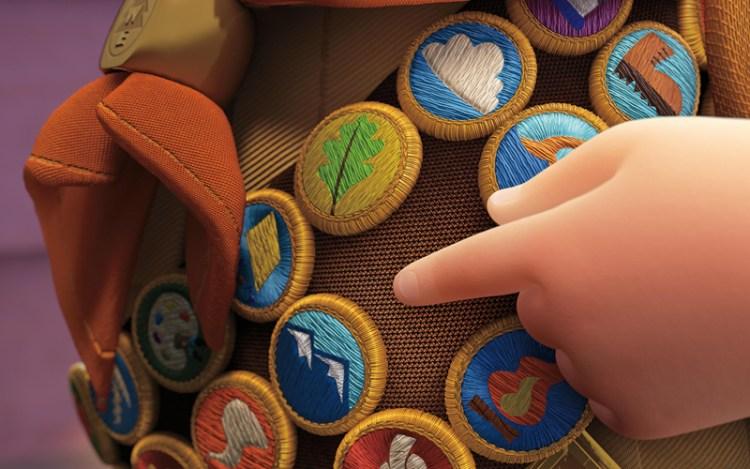 Medalhas de escoteiro do menininho Russell, de Up! Altas Aventuras