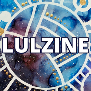 Abstract art in various blues, with golden globules/circles, white lines, and the word Lulzine overlaid.