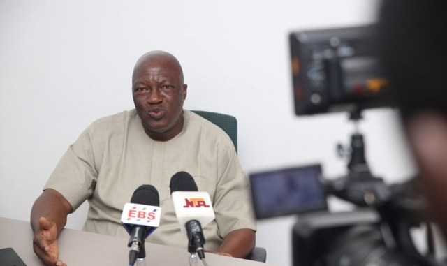 The Secretary to Edo State Government, Osarodion Ogie, Esq., addressing journalists on the progress that has been made in the 'Operation Clean Up Edo' initiative at the Government