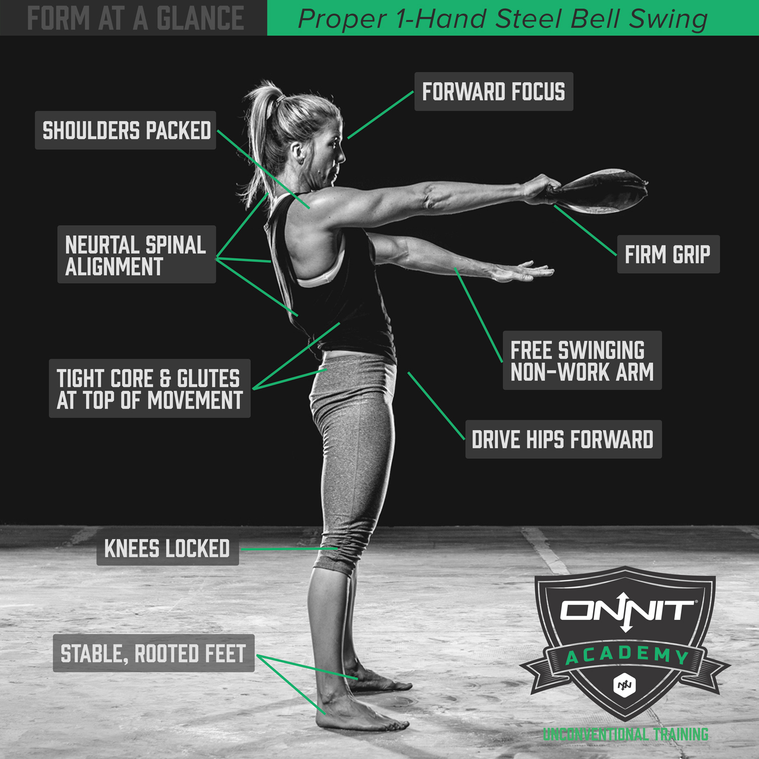 Form at a Glance 1Hand Steel Bell Swing  Onnit Academy