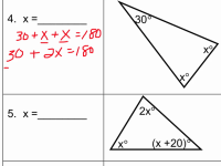 Triangle Sum Theorem Worksheet Algebra