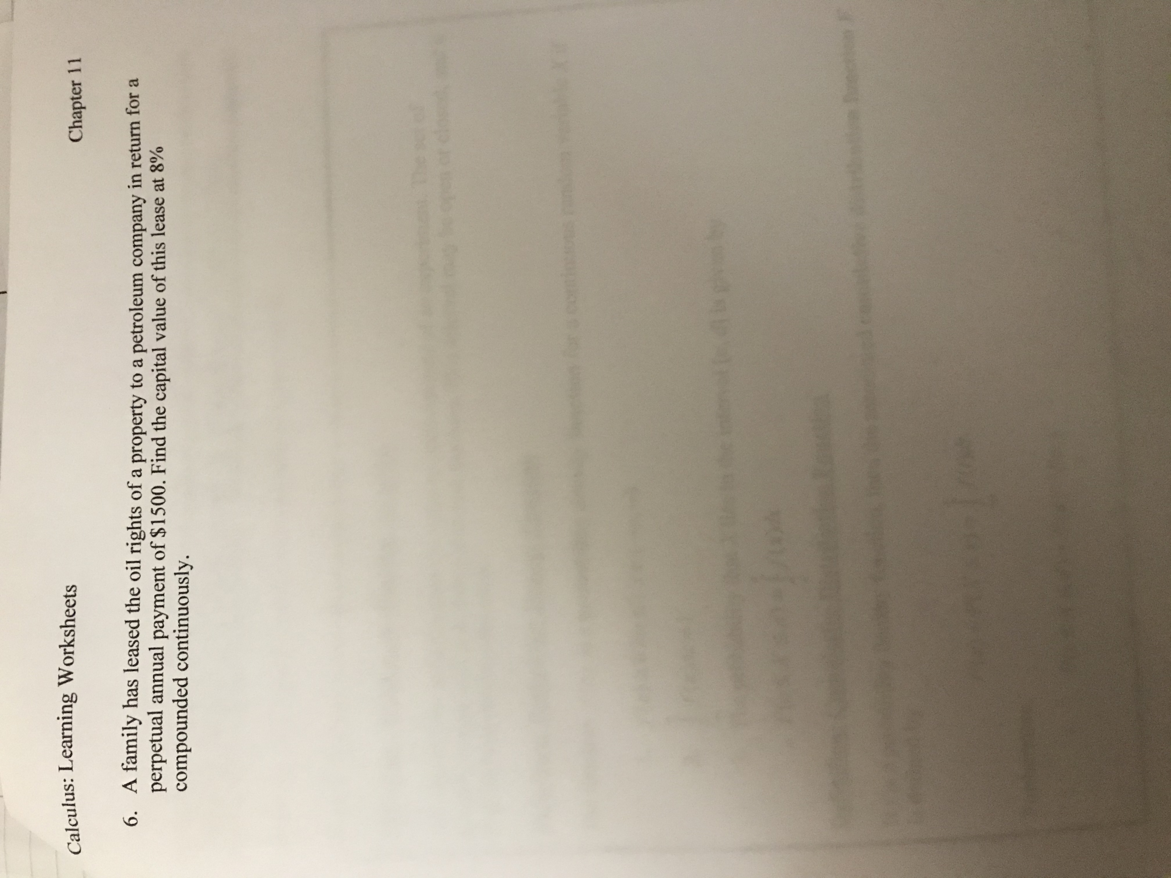Answered Calculus Learning Worksheets Chapter