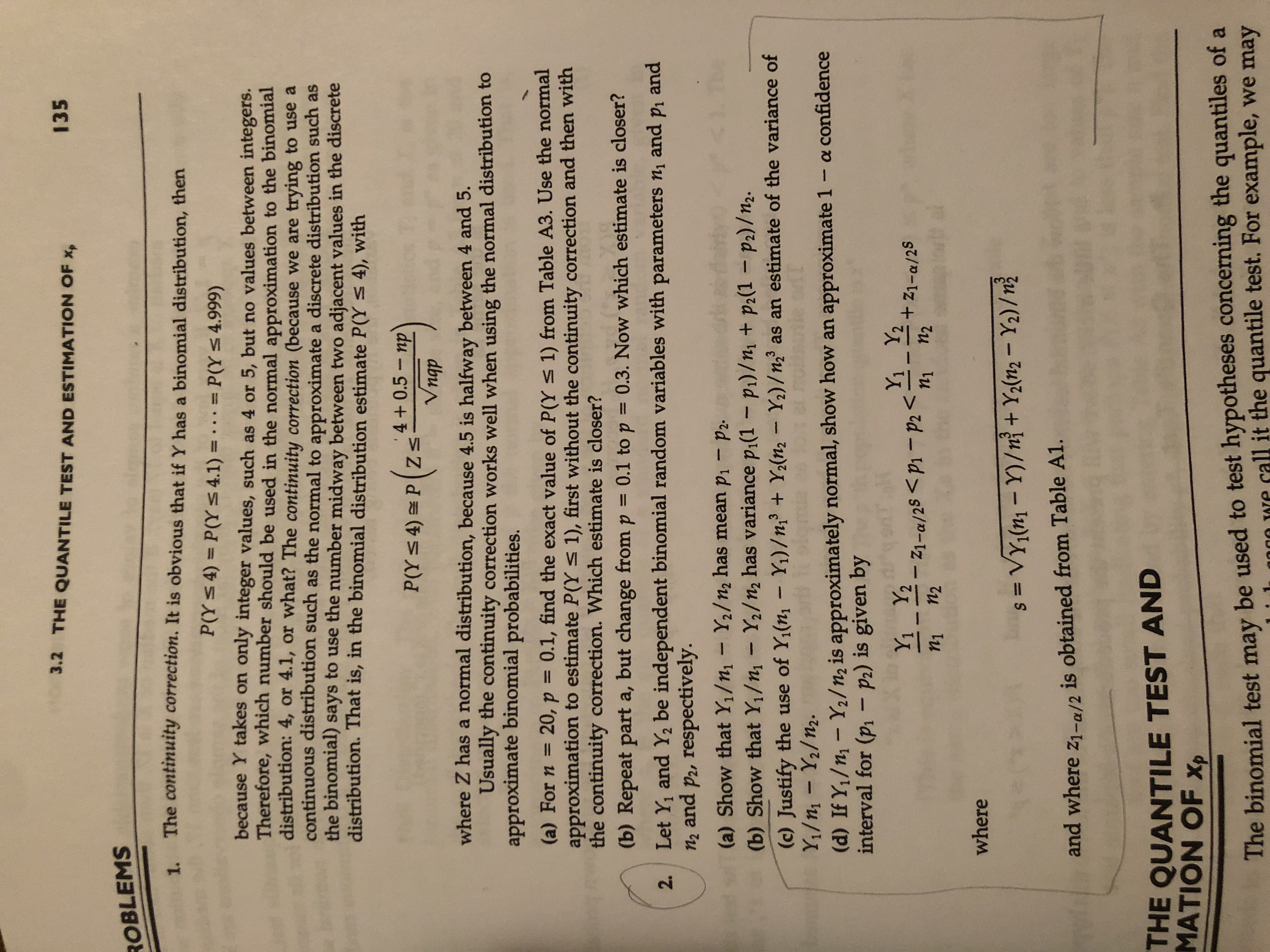 Answered 3 2 The Quantile Test And Estimation Of