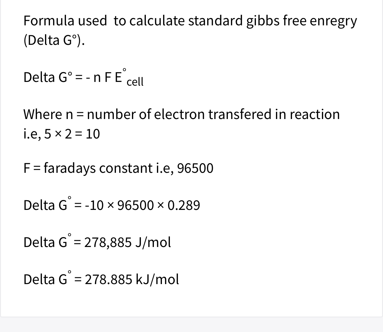 Standard Gibbs Free Energy Equation