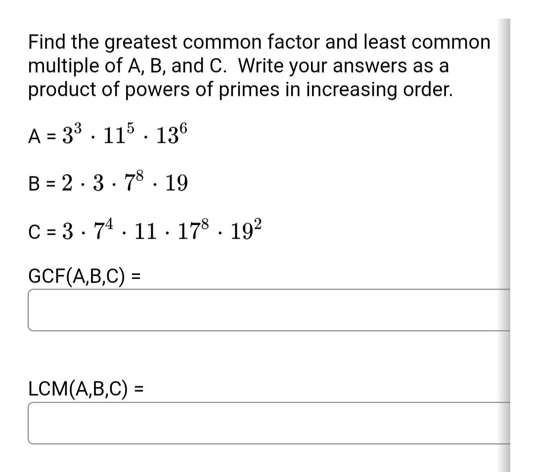 Answered Find The Greatest Common Factor And