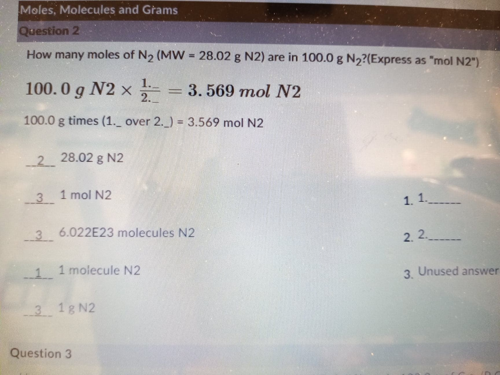 Answered Moles Molecules And Grams Question 2