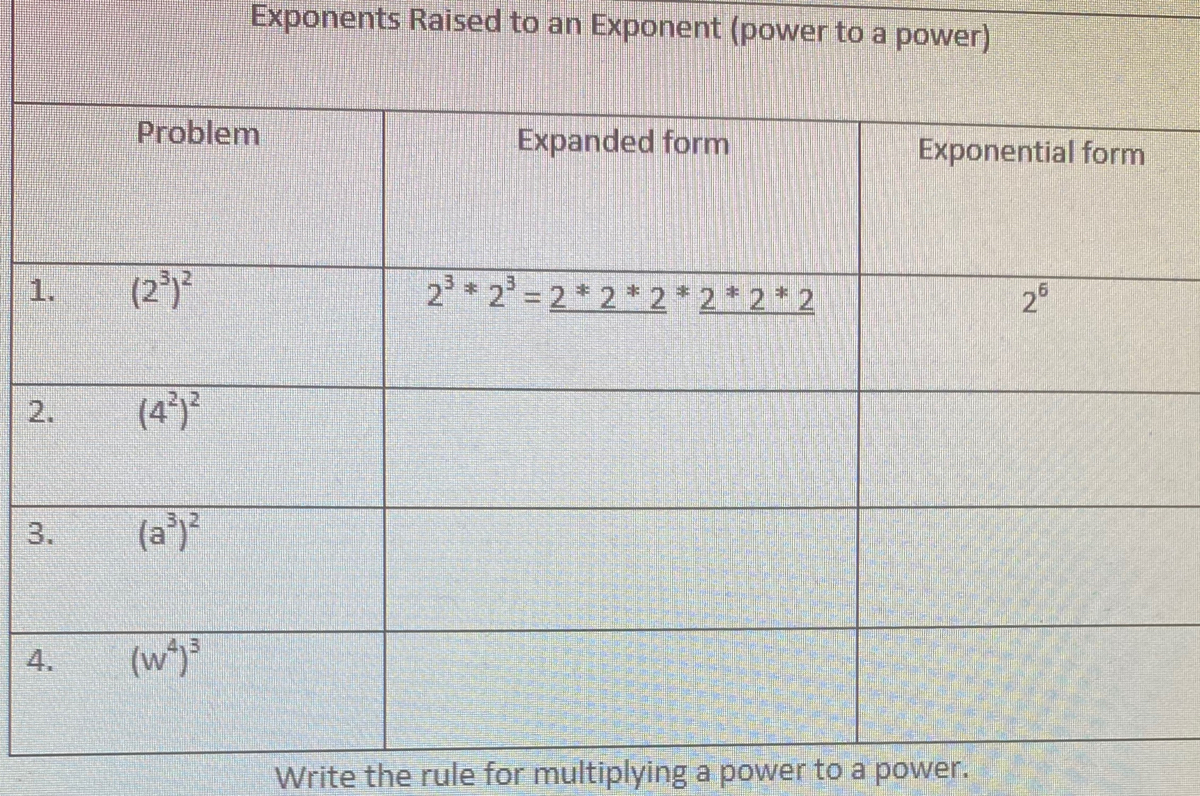 Answered Exponents Raised To An Exponent Power