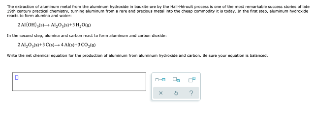 Answered: The extraction of aluminum metal from  bartleby
