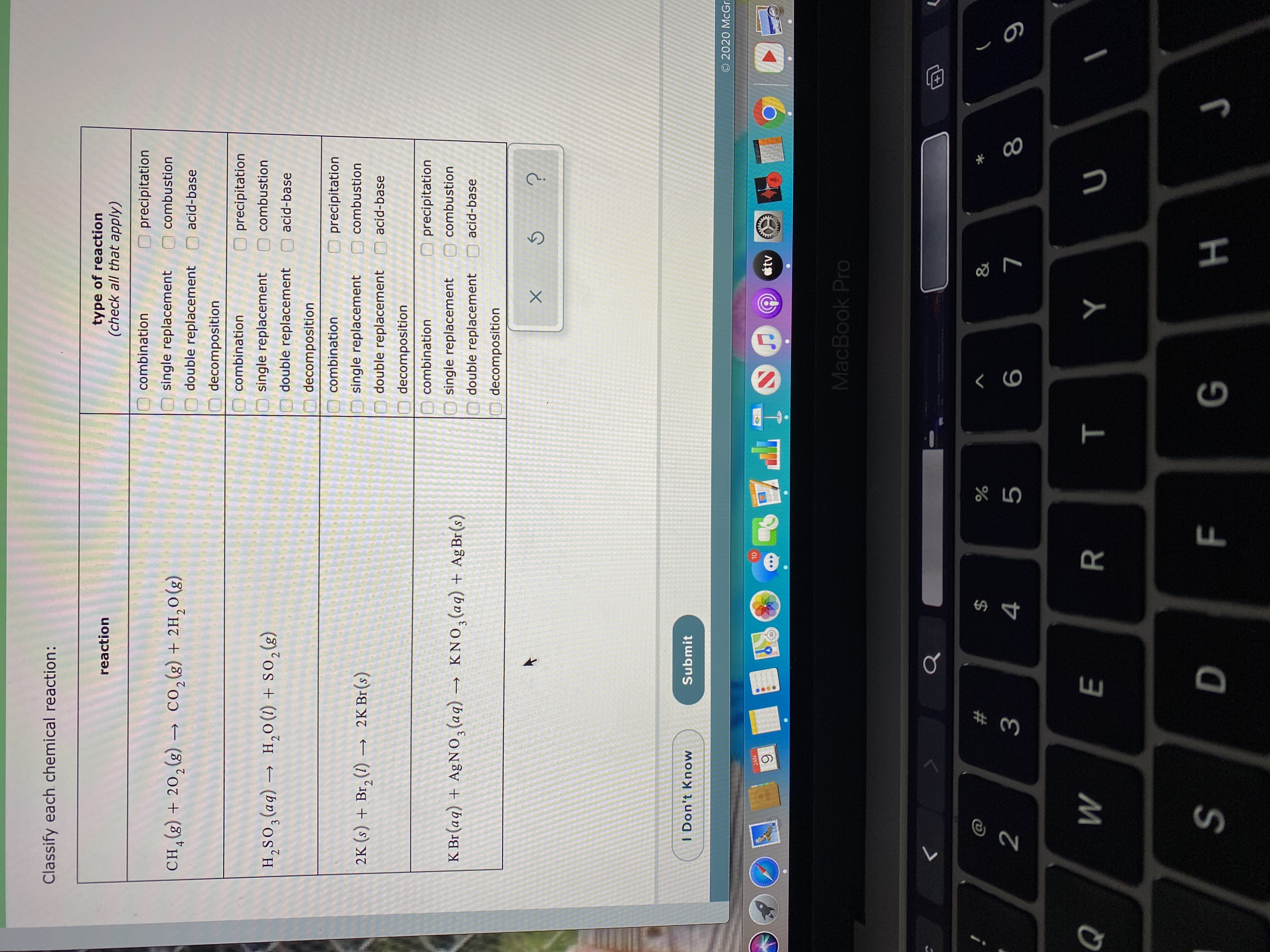 Answered Classify Each Chemical Reaction Type