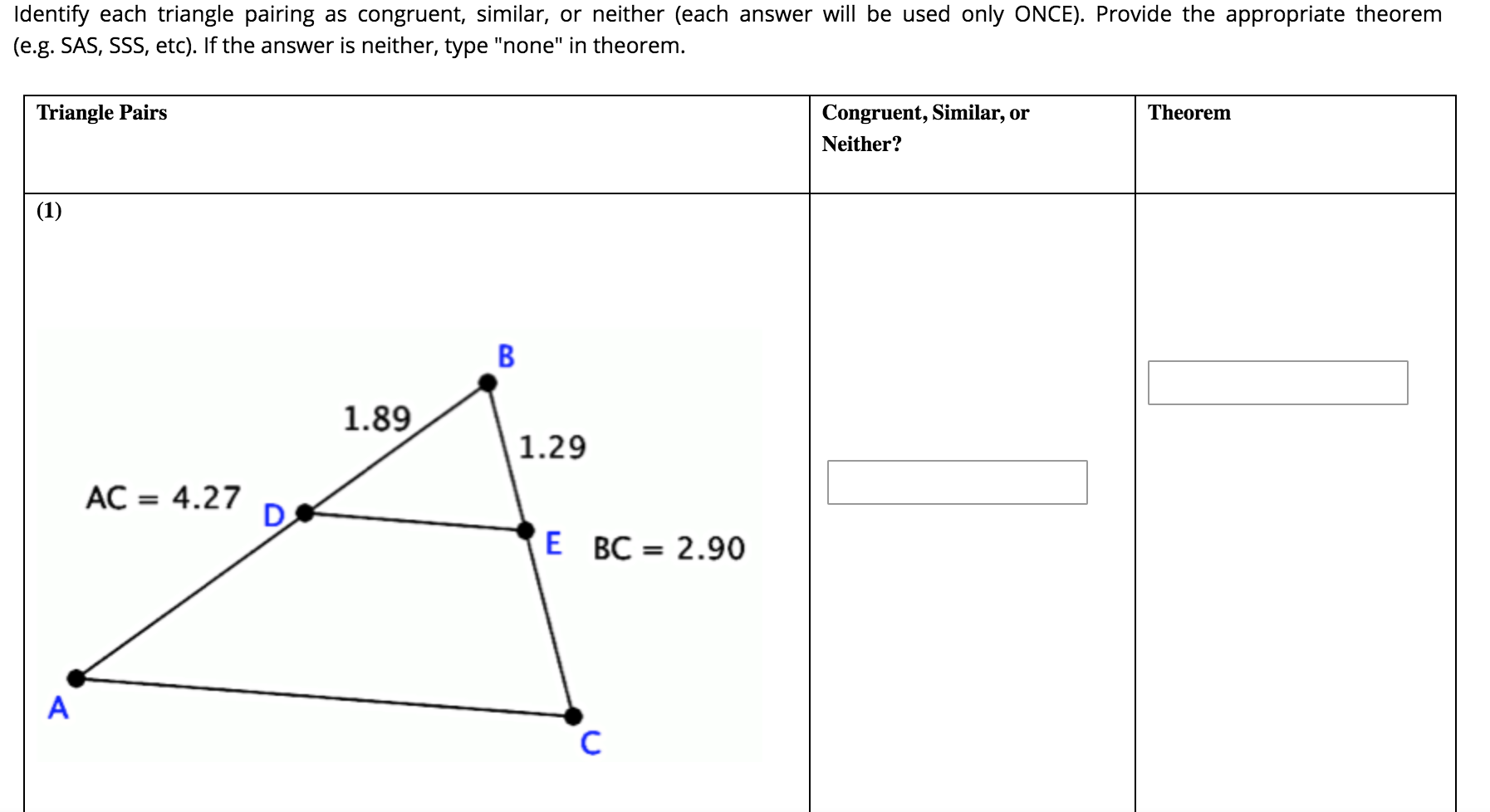 Answered Identify Each Triangle Pairing As