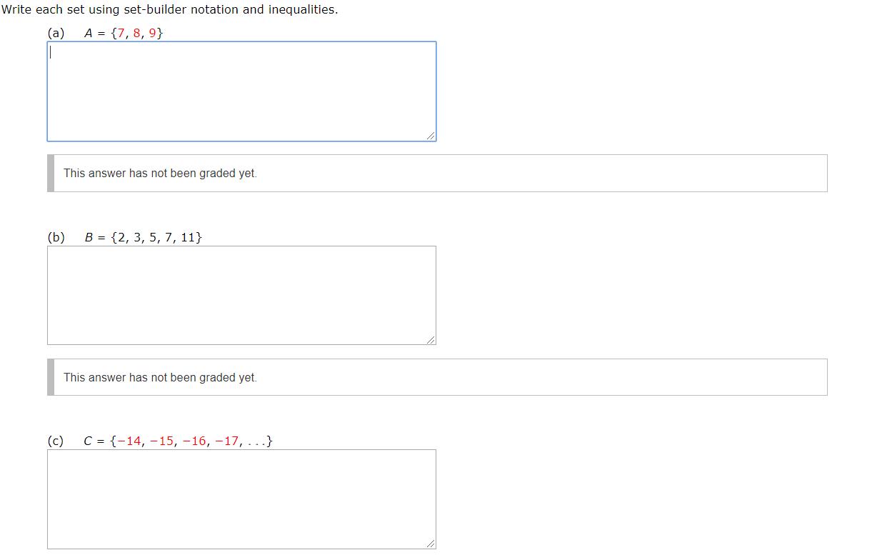 Answered Write Each Set Using Set Builder