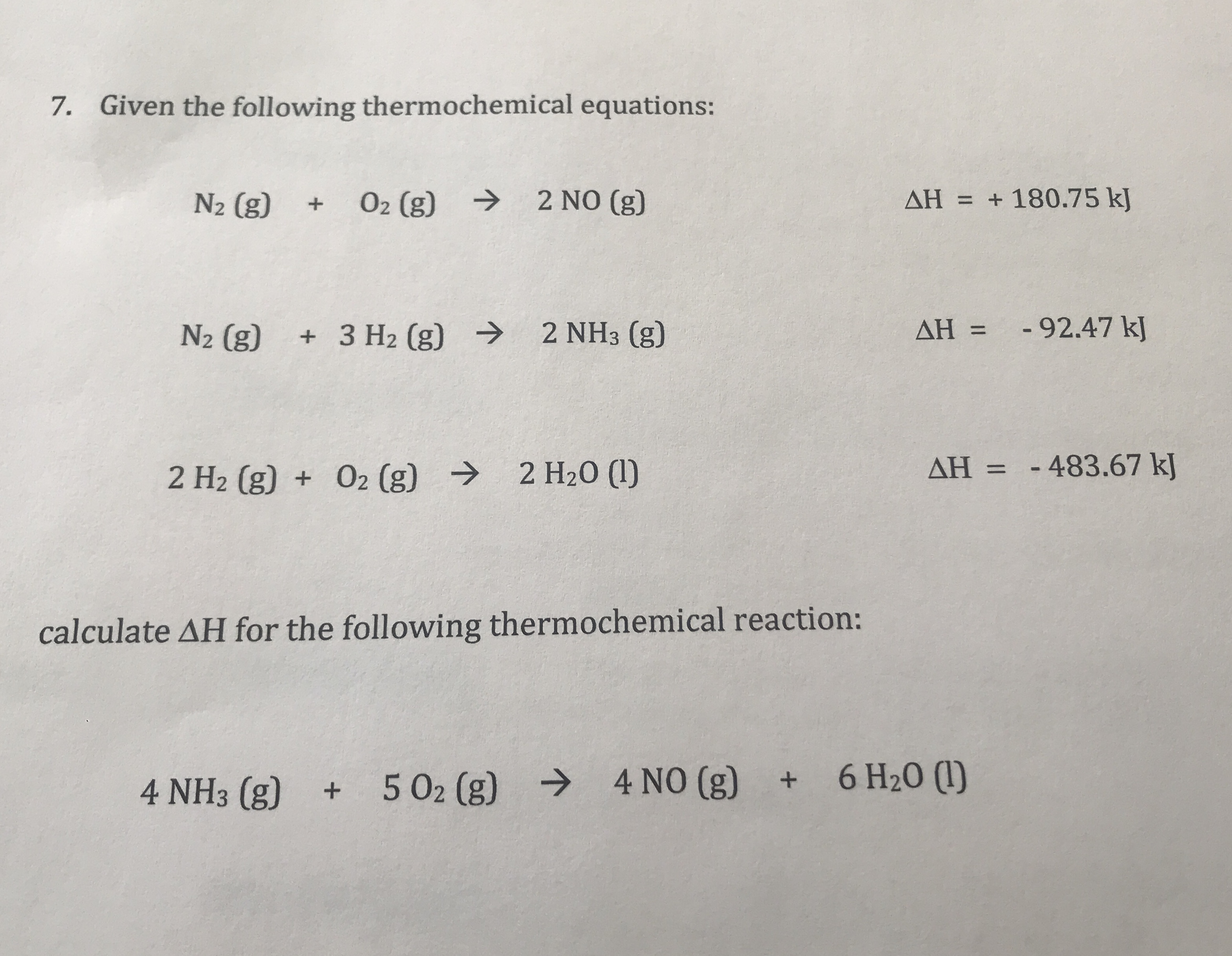 Answered Given The Following Thermochemical