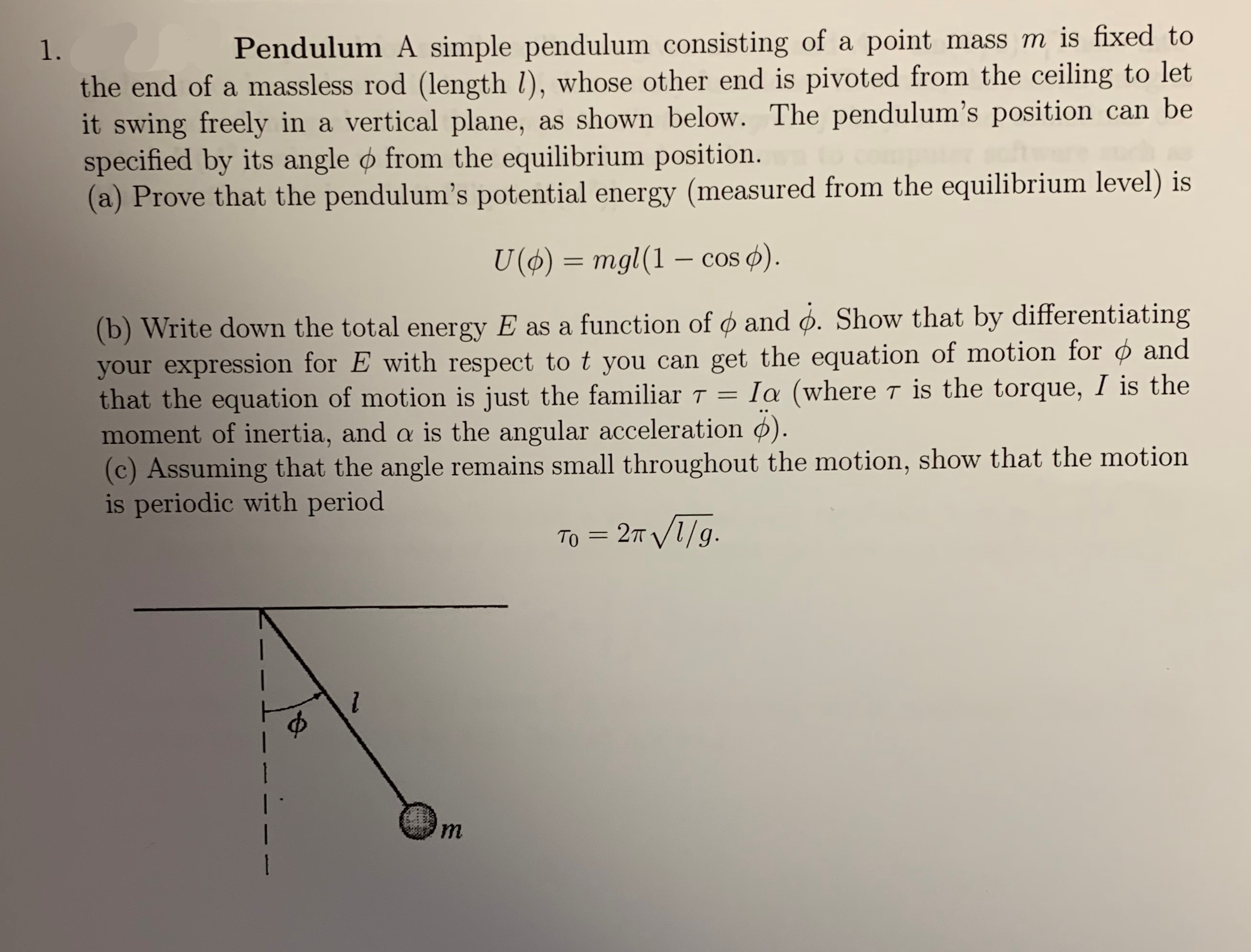 Answered Mass M Is Fixed To Pendulum A Simple