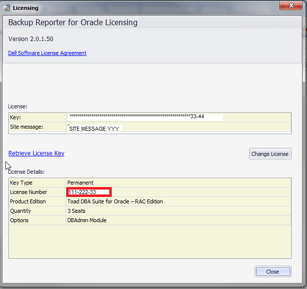 Where can I find the License Number for Backup Reporter for Oracle 212232