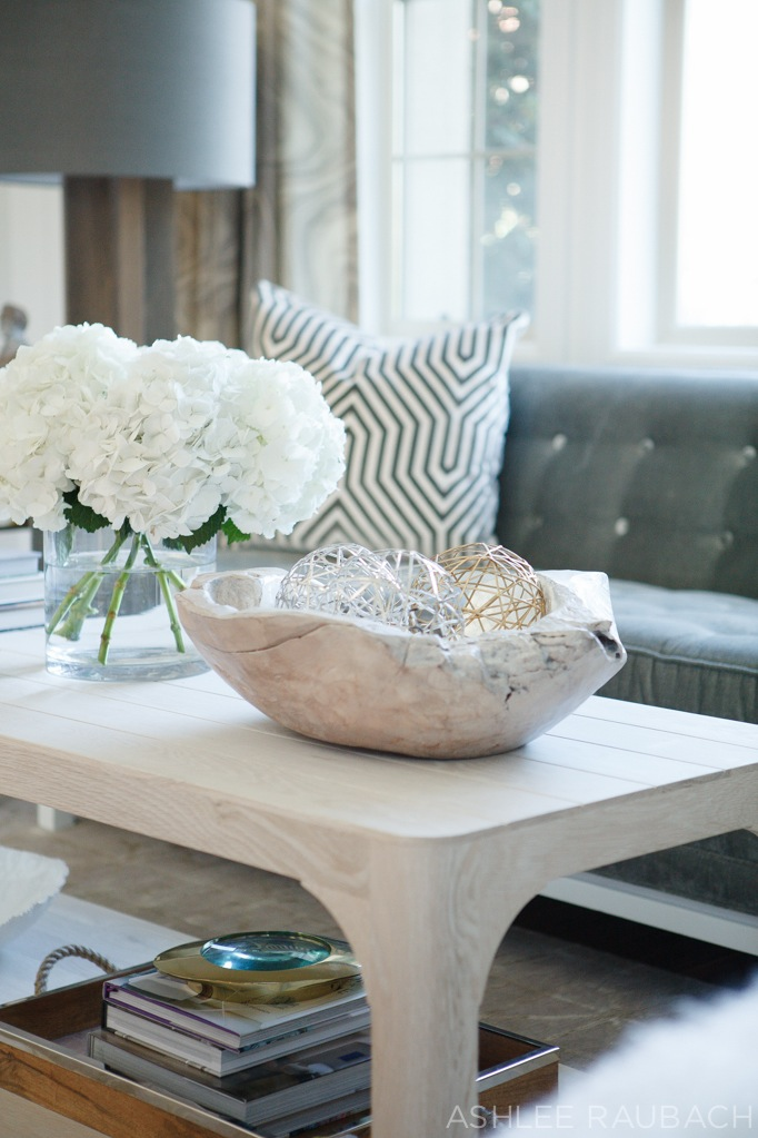 modern living room and hydrangea and zgallerie bowl