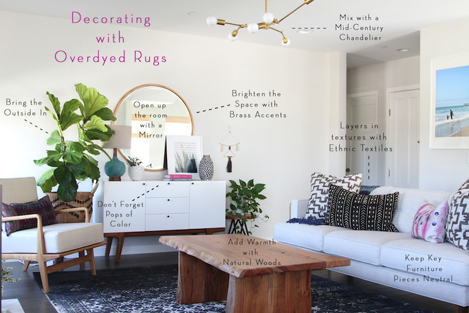 decorating with over dyed rugs Becki Owens