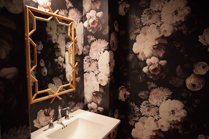 before and after dark floral wallpaper powder room becki owens