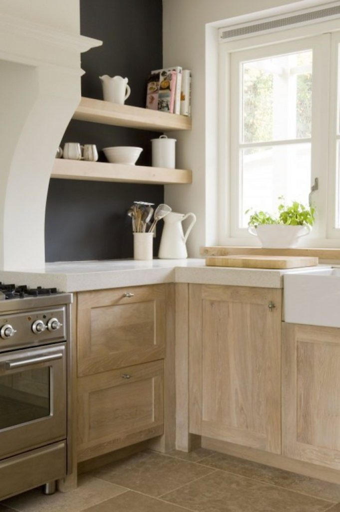 natural wood shaker cabinetry