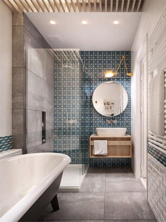 incredible Beautiful Bathroom Ideas Part - 5: blue cement tile bathroom