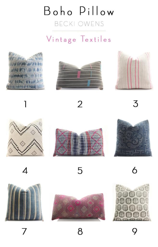 boho pillow vintage textiles