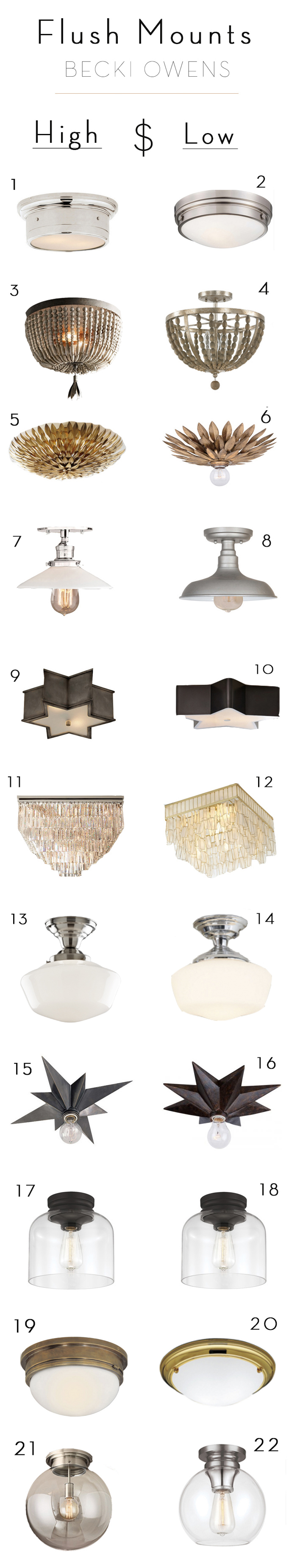 splurge and save flush mount lighting becki owens