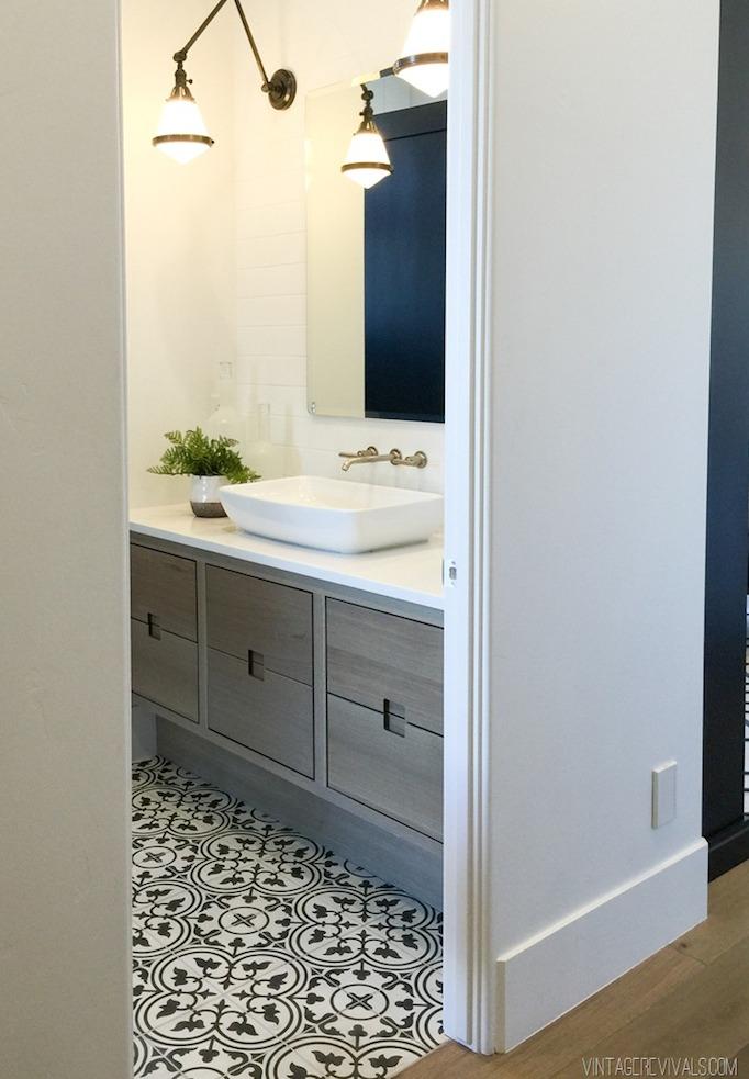 gray cabinetry bathroom